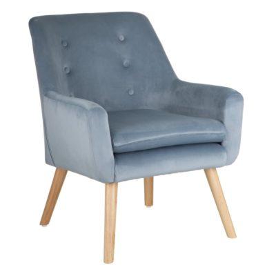 sillon de tejido y madera azul