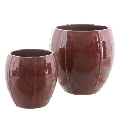 maceteros rojos de ceramica